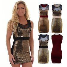 Women's Sequin Panel Mesh Insert Sleeveless Party Short Ladies Bodycon Dress