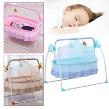 Electric Baby Crib Cradle Auto Swing Rocking Cot Infant Sleeping Basket w/Music