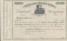 Delhi and Hudson River Railroad > 1800s New York stock certificate share