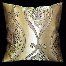 HC335a Light Bronze Gold Deep Brown Floral Jacquard Cushion Cover/Pillow Case