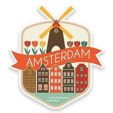 2 x Amsterdam Netherlands Vinyl Sticker Travel Car Luggage #9188