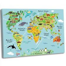 Animal Fun Map of the World for Children Kids Bedroom Framed Canvas Art Print
