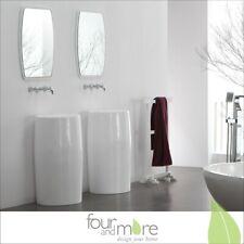 Mineralguss Waschbecken Waschsäule Waschtisch in weiß + Spiegel 271-00-W1-85