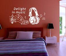 MUSICA CUFFIE LIVING letto stanza Adesivo parete arte decalcomania UK SH99