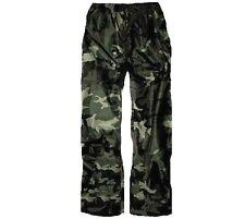 LADIES WATERPROOF WINDPROOF TROUSERS black camouflage hiking trek bottoms XS-XXL