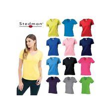 T-SHIRT DONNA STEDMAN ST2700 SCOLLO A V  MANICA CORTA COTONE