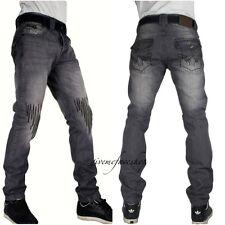 "Peviani super club g jeans, grey ""rock-star"" mens denim, slim straight rips hip"