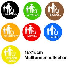 Mülltonnen Aufkleber Mistkübel Aufkleber 15x15cm Mülleimer Aufkleber   176/3