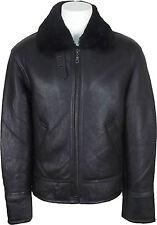 UNICORN Mens Sheepskin Aviator Jacket Black With Black Fur Leather Coat #S0