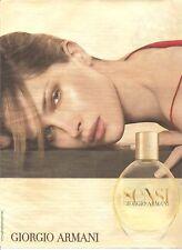 PUBLICITE ADVERTISING 2003 Sensi de GIORGIO ARMANI avec Erin Wasson  parfum