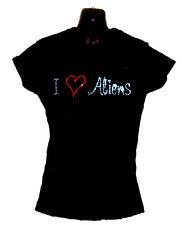 I Love Aliens diseño de brillantes Ajustada Camiseta Camisa (Cualquier Talla)
