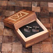 Personalised Classic Rectangular Cufflinks Monogram Groomsmen Usher Gifts