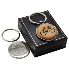 CYCLE Wood  SILVER Keyring Personalised  Engraved CYCLIST BICYCLE TRIATHLON BIKE