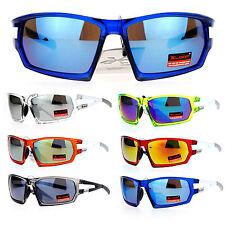 Xloop Mens Mirror Lens Aerodynamic Rectangular Matte Plastic Sport Sunglasses