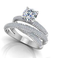 Natural 1.20 CT Real Brilliant Diamond Engagement Band Sets 14k Gold Size M O L