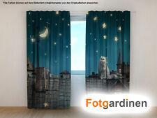 "Fotogardinen ""Katze"" Vorhang 3D Fotodruck, Foto-Vorhang, Maßanfertigung"