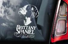 Brittany Spaniel on Board - Car Window Sticker - French Breton Dog Decal - V01