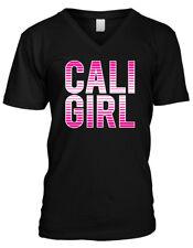 Cali Girl Retro Text Sun Fun Beach Vacation Music Lyrics Mens V-neck T-shirt