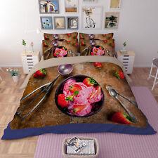 3D Ice Cream 301 Bed Pillowcases Quilt Duvet Cover Set Single Queen King Size AU
