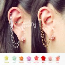 Helix to Lobe feather & pink rose chain earring, helix earring handmade jewelry