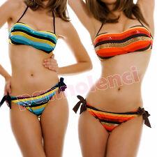 Bikini costume bagno FASCIA RIGHE paillettes ORO mare donna swimwear PAOLA-1