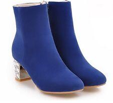 stivali stivaletti stiletto scarpe donna tacco 6 cm blu comode simil pelle 8826