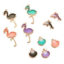 10Pcs Multicolor Alloy Charm Flamingo Bird Shell Shark Pendant DIY Jewelry Craft
