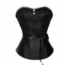 Para mujeres Con cordones Espalda Negro corsé de acero huesos Bustier Jacquard Busto Reino Unido
