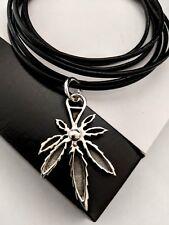 925 Silver Ganga Leaf Charm Leather Wrap Wristband Bracelet Necklace Xmas Gift