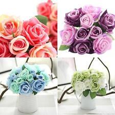 9 Heads Artificial Silk Fake Flowers Leaf Rose Wedding Floral Decor Bouquet Love