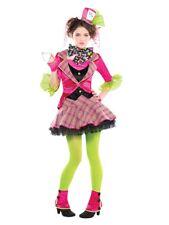 Teen Mad Hatter Costume Girls Alice Tea Party Halloween Kids Fancy Dress Outfit