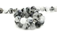 Natural Black Tourmaline Quartz Smooth Round Ball Sphere Loose Gemstone Bead Bea