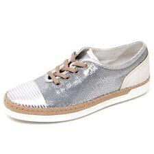 D0442 sneaker donna TOD'S scarpa rafia argento paillettes shoe woman