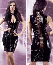 """Lack Kleid schwarz Stehkragen Wetlook Glanz Abendkleid 38 46 48 S M L XL """"Sahana"""