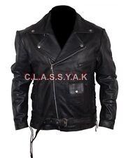 Classyak Men's Motorbike Terminator 2 Style Brando Real Leather Jacket All Sizes