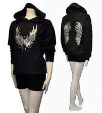 Women So Cute Angel Wings Rhinestone Pullover Hoodie Sweater w/ Hearts S ~ 3XL