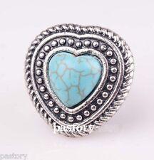 """Bague Coeur  """"Romantic"""" Perle Turquoise Argent du Tibet Réglable"""