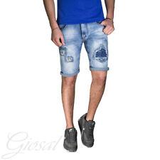 Pantalone Uomo Corto Bermuda Jeans Denim Toppe Rotture Stracciato GIOSAL