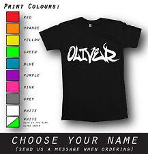 Unique Any Name Men Women Personalised Graffiti Black T-Shirt Custom Xmas Gift