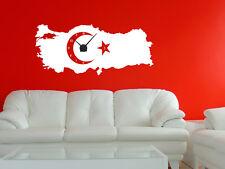 Wandtattoo Wanduhr Uhr mit Uhrwerk für Wohnzimmer Landkarte Türkei mit Flagge