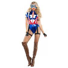 Captain America Costume Adult Female Superhero Cosplay Halloween Fancy Dress