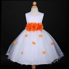 White/Orange Party Recital Wedding Flower Girl Dress 6M 12M 18M 2 3/4 5/6 7/8 10