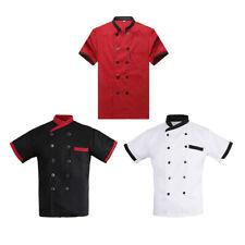 Chef Jacket Tops Striped Short Sleeved Restaurant Hotel Uniforms Work Wear