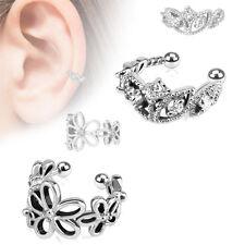 Clip On aros pendiente oreja EAR CUFF No Piercing Flores Plata Latón RODIADO