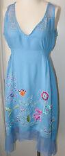 Krista Lee Lilium Group Periwinkle Blue Embroidered Beaded Tank Dress Sleeveless