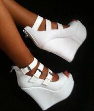 Women Platform Wedge Heel Party Pumps Peep Toe Buckle Zipper White Sandals Shoes