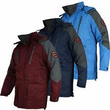 CARABOU Mens Fleece Lined Winter Outdoor Jacket with zip pockets Detachable Hood