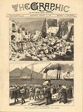 Impresión De 1883 ~ ~ Ischia terremoto Italia la eliminación de Barco de Vapor ruinas ~ herido