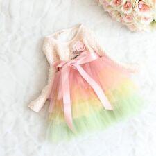 Princess Girls Baby Tulle Cream Skirt Rainbow Warm Party Dress Size 0 1 2 3 4