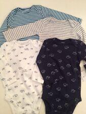 Carters Baby Boy 4 Long Sleeve Bodysuits Size 6 9 Months Blue Turtle Elephant